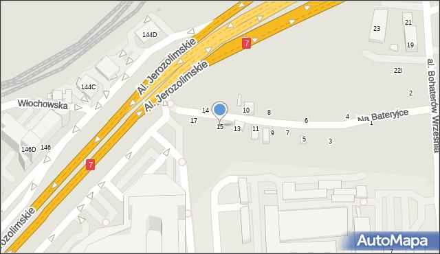 Warszawa, Na Bateryjce, 15, mapa Warszawy