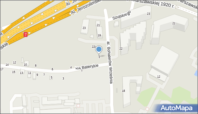 Warszawa, Na Bateryjce, 2, mapa Warszawy