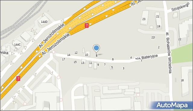 Warszawa, Na Bateryjce, 8, mapa Warszawy