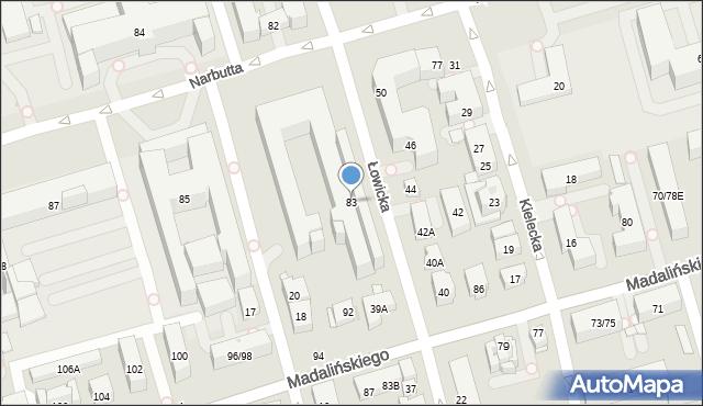 Warszawa, Narbutta Ludwika, 83, mapa Warszawy