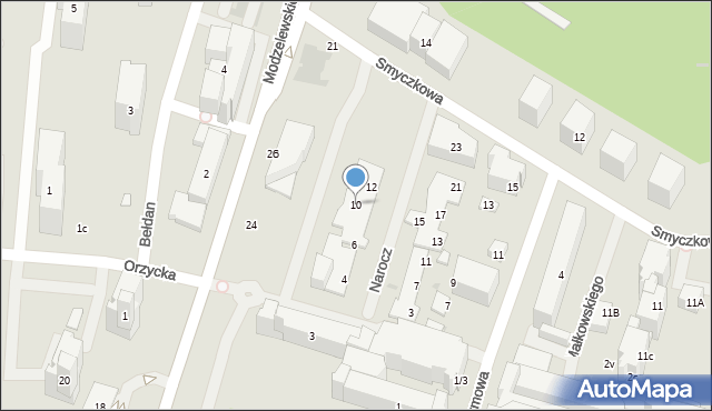 Warszawa, Narocz, 10, mapa Warszawy