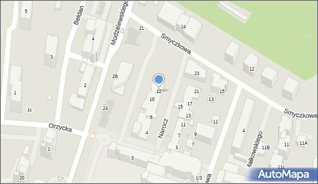 Warszawa, Narocz, 12, mapa Warszawy