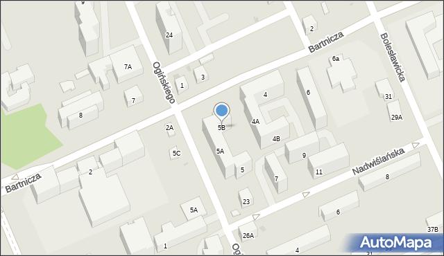 Warszawa, Nadwiślańska, 5B, mapa Warszawy