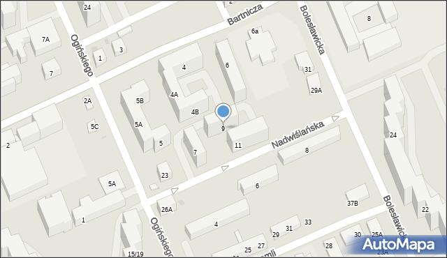 Warszawa, Nadwiślańska, 9, mapa Warszawy