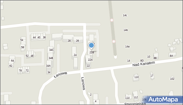 Zabrze, Nad Kanałem, 22B, mapa Zabrza
