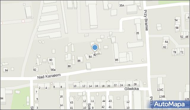 Zabrze, Nad Kanałem, 82, mapa Zabrza