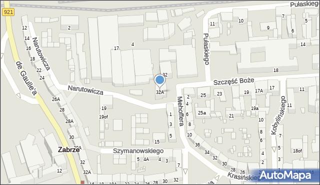 Zabrze, Narutowicza Gabriela, 32A, mapa Zabrza