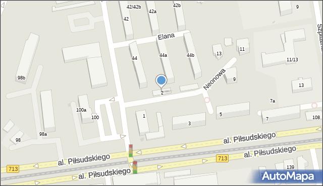 Łódź, Neonowa, 2, mapa Łodzi