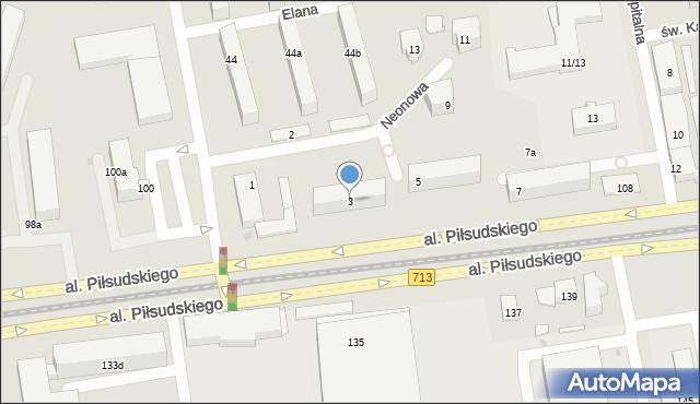 Łódź, Neonowa, 3, mapa Łodzi