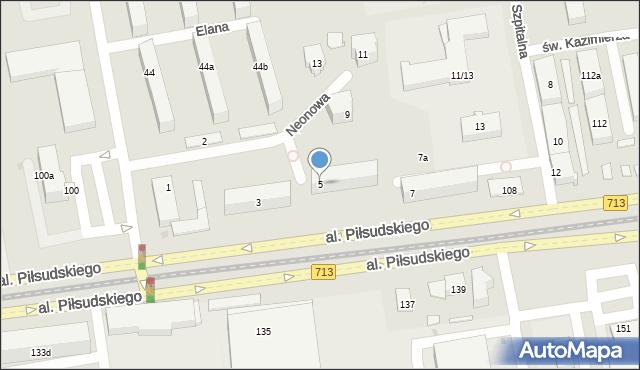 Łódź, Neonowa, 5, mapa Łodzi