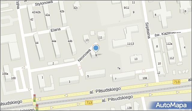 Łódź, Neonowa, 9, mapa Łodzi