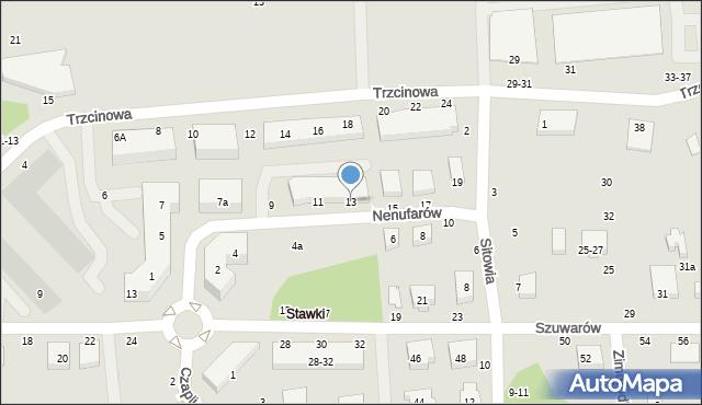 Toruń, Nenufarów, 13, mapa Torunia