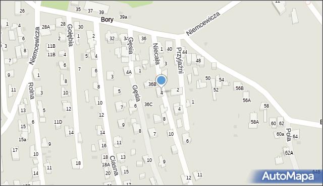 Jaworzno, Niecała, 4, mapa Jaworzno
