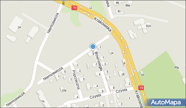 Jaworzno, Niemcewicza Juliana Ursyna, 3, mapa Jaworzno