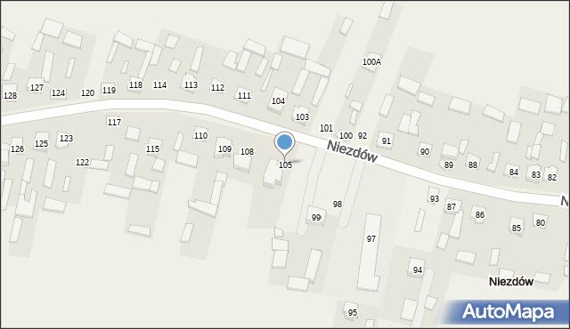 Niezdów, Niezdów, 105, mapa Niezdów