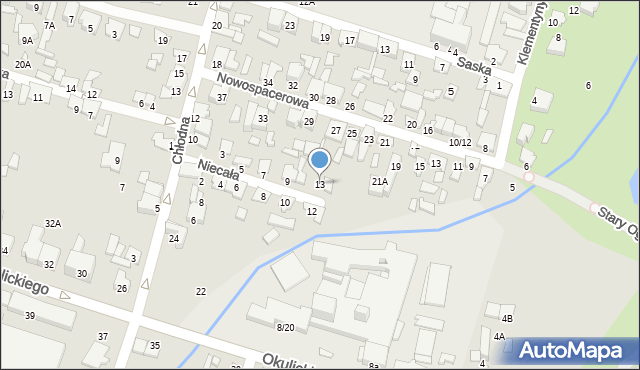 Radom, Niecała, 13, mapa Radomia
