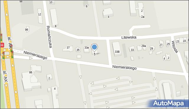 Rzeszów, Niemierskiego Jana, 5, mapa Rzeszów
