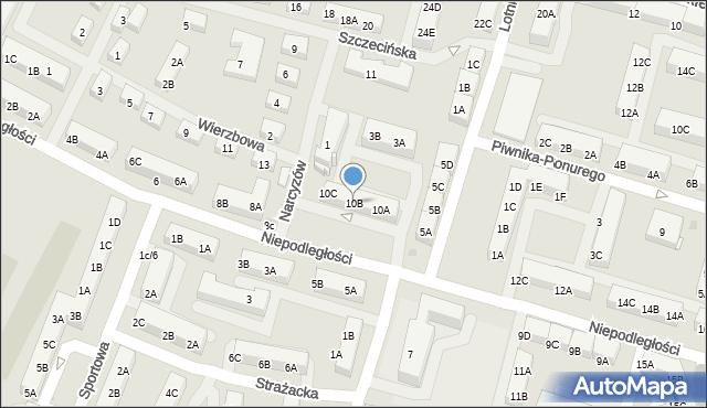 Sosnowiec, Niepodległości, 10B, mapa Sosnowca