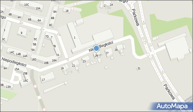 Sosnowiec, Niepodległości, 25, mapa Sosnowca