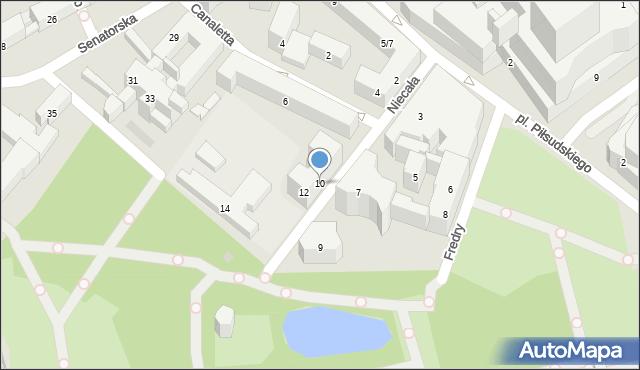 Warszawa, Niecała, 10, mapa Warszawy