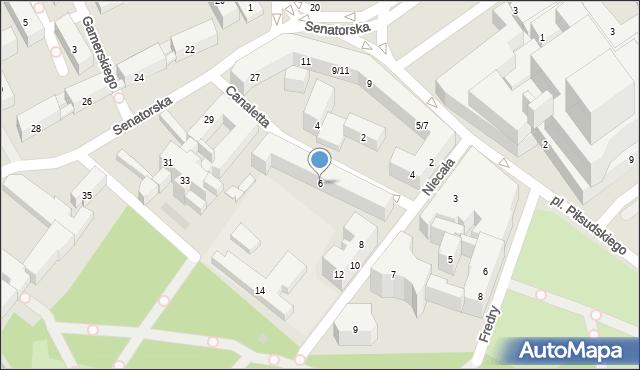 Warszawa, Niecała, 6, mapa Warszawy