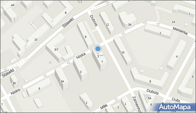 Warszawa, Niska, 1, mapa Warszawy