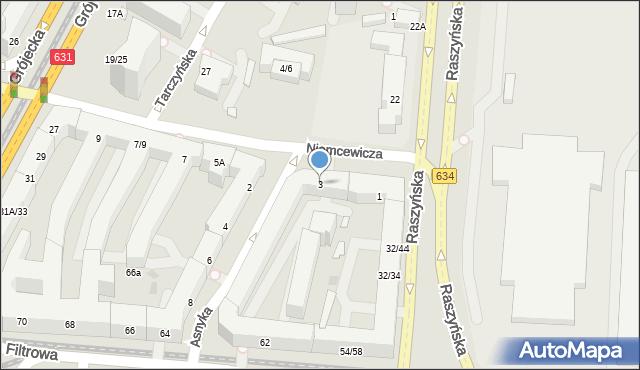 Warszawa, Niemcewicza Juliana Ursyna, 3, mapa Warszawy