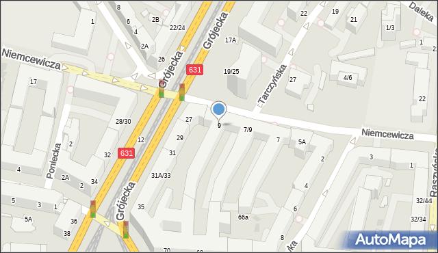 Warszawa, Niemcewicza Juliana Ursyna, 9, mapa Warszawy
