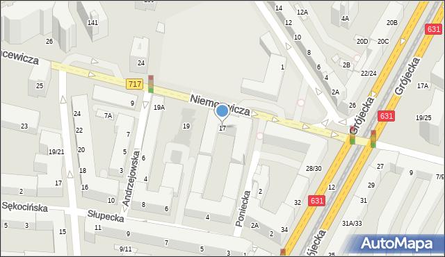 Warszawa, Niemcewicza Juliana Ursyna, 17, mapa Warszawy