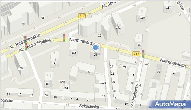 Warszawa, Niemcewicza Juliana Ursyna, 25, mapa Warszawy