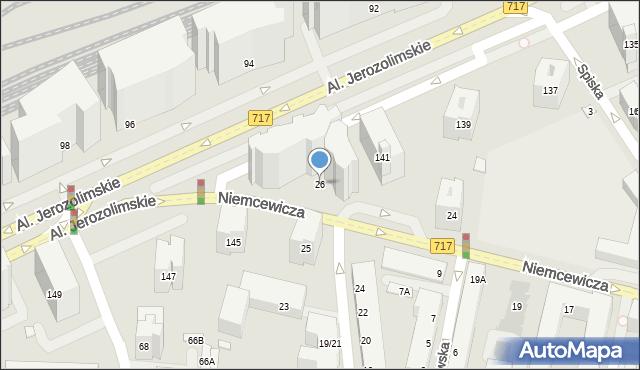 Warszawa, Niemcewicza Juliana Ursyna, 26, mapa Warszawy
