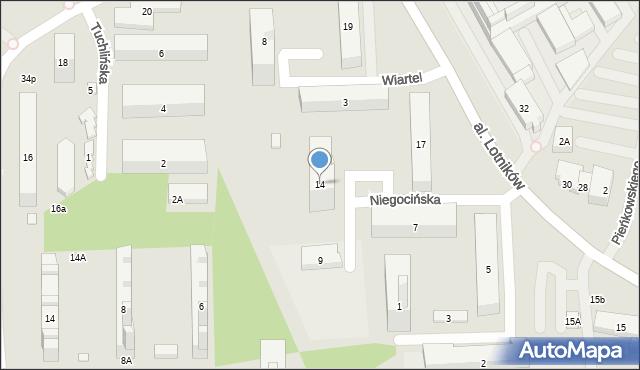 Warszawa, Niegocińska, 14, mapa Warszawy