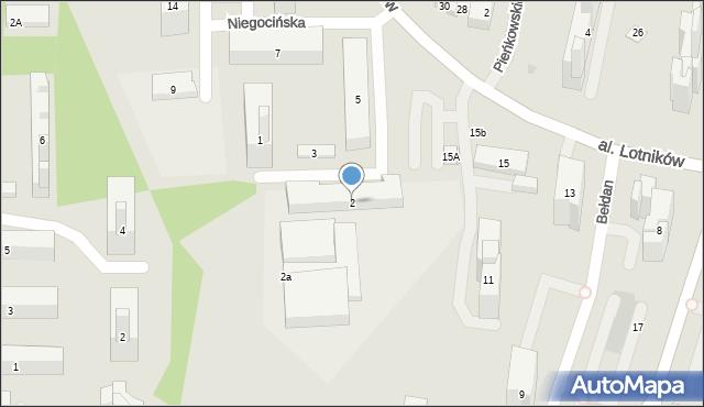 Warszawa, Niegocińska, 2, mapa Warszawy