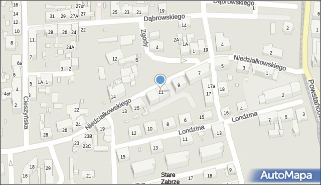Zabrze, Niedziałkowskiego Mieczysława, 11, mapa Zabrza