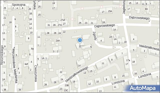 Zabrze, Niedziałkowskiego Mieczysława, 12, mapa Zabrza