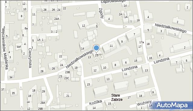 Zabrze, Niedziałkowskiego Mieczysława, 15, mapa Zabrza