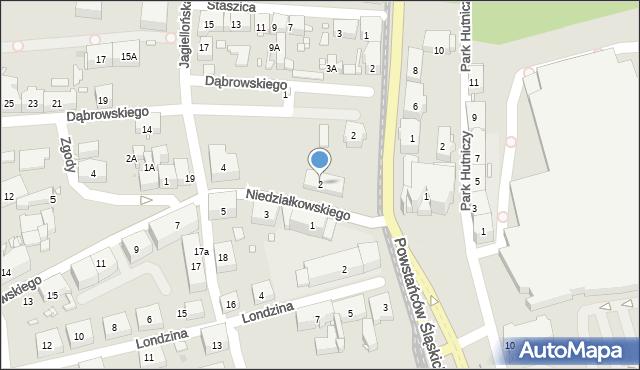 Zabrze, Niedziałkowskiego Mieczysława, 2, mapa Zabrza