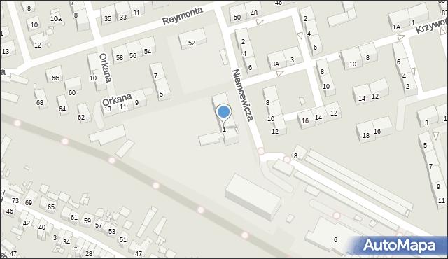 Zabrze, Niemcewicza Juliana Ursyna, 1, mapa Zabrza