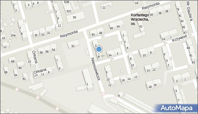 Zabrze, Niemcewicza Juliana Ursyna, 6, mapa Zabrza