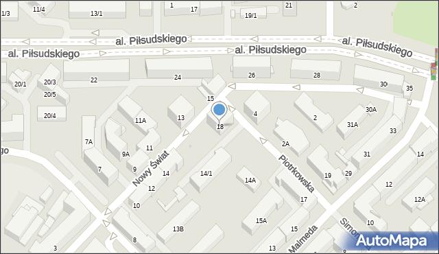 Białystok, Nowy Świat, 18, mapa Białegostoku