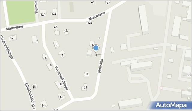 Chełm, Norwida Cypriana Kamila, 8, mapa Chełma