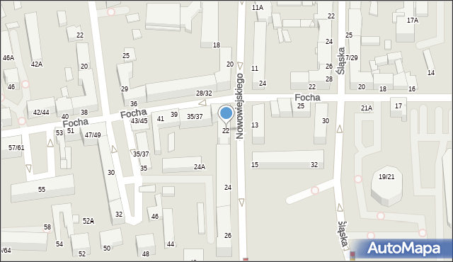 Częstochowa, Nowowiejskiego, 22, mapa Częstochowy