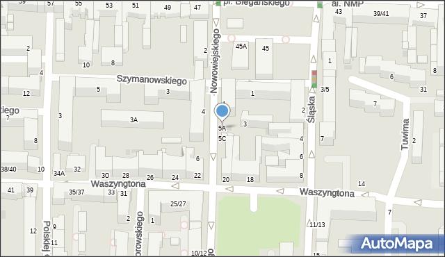 Częstochowa, Nowowiejskiego, 5A, mapa Częstochowy
