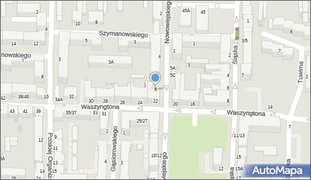 Częstochowa, Nowowiejskiego, 6, mapa Częstochowy