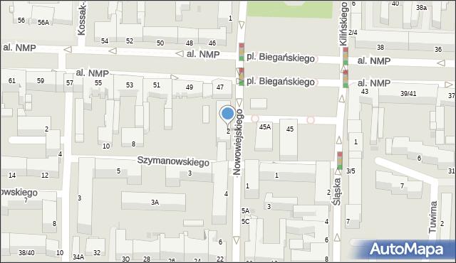 Częstochowa, Nowowiejskiego Feliksa, 2, mapa Częstochowy