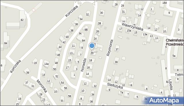 Grudziądz, Norwida Cypriana Kamila, 20, mapa Grudziądza