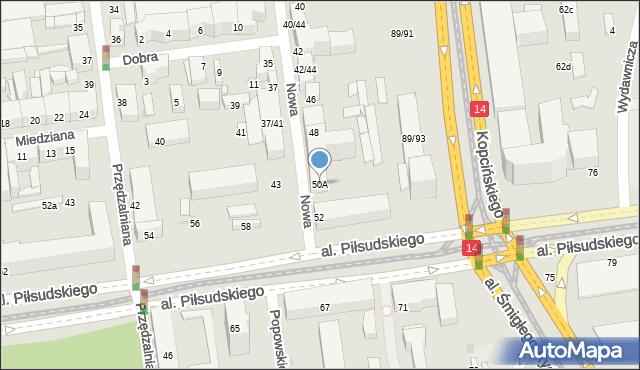 Łódź, Nowa, 50A, mapa Łodzi