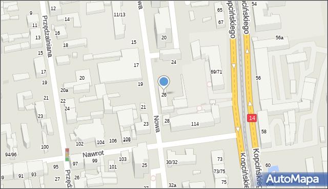 Łódź, Nowa, 26, mapa Łodzi