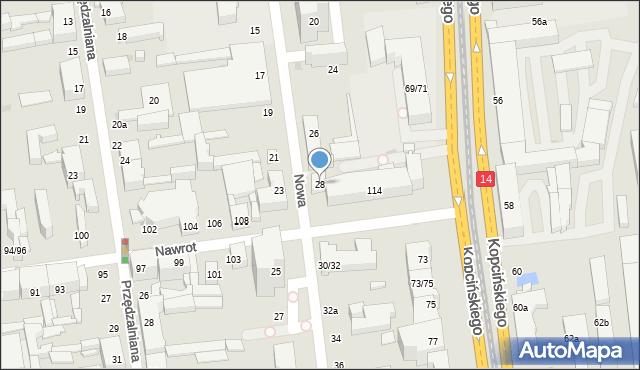 Łódź, Nowa, 28, mapa Łodzi