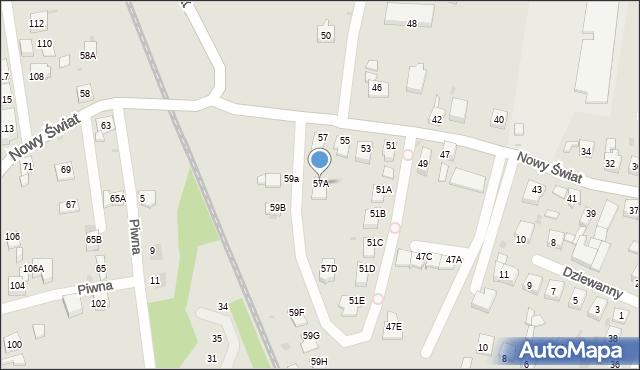 Ruda Śląska, Nowy Świat, 57A, mapa Rudy Śląskiej